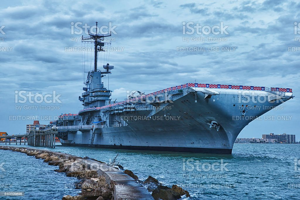 Aircraft carrier USS Lexington dockt in Corpus Christi stock photo