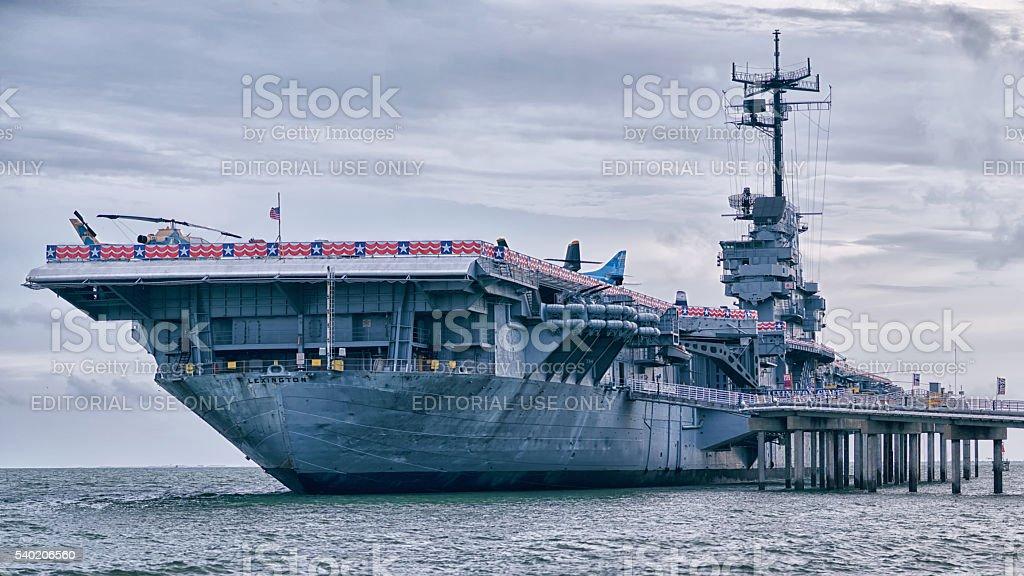 Aircraft carrier USS Lexington dockt in Corpus Christi stock photo