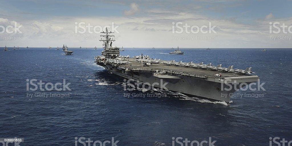 Aircraft Carrier USS Ronald Reagn (CVN 75) stock photo
