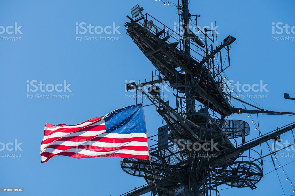 Aircraft Carrier with Flag stock photo