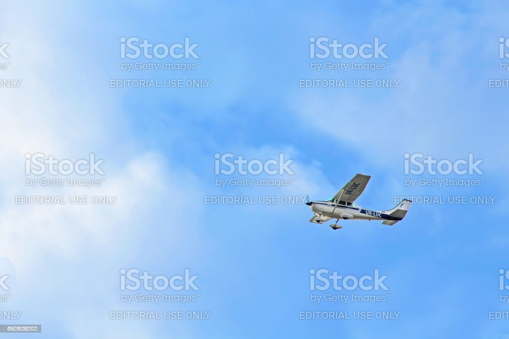 Aircraft Cessna 182 K Skylane UR-LUC by Mechanic-Avia in the sky stock photo