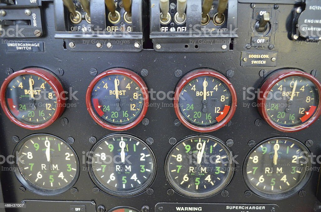 Aircraft cockpit dials. royalty-free stock photo
