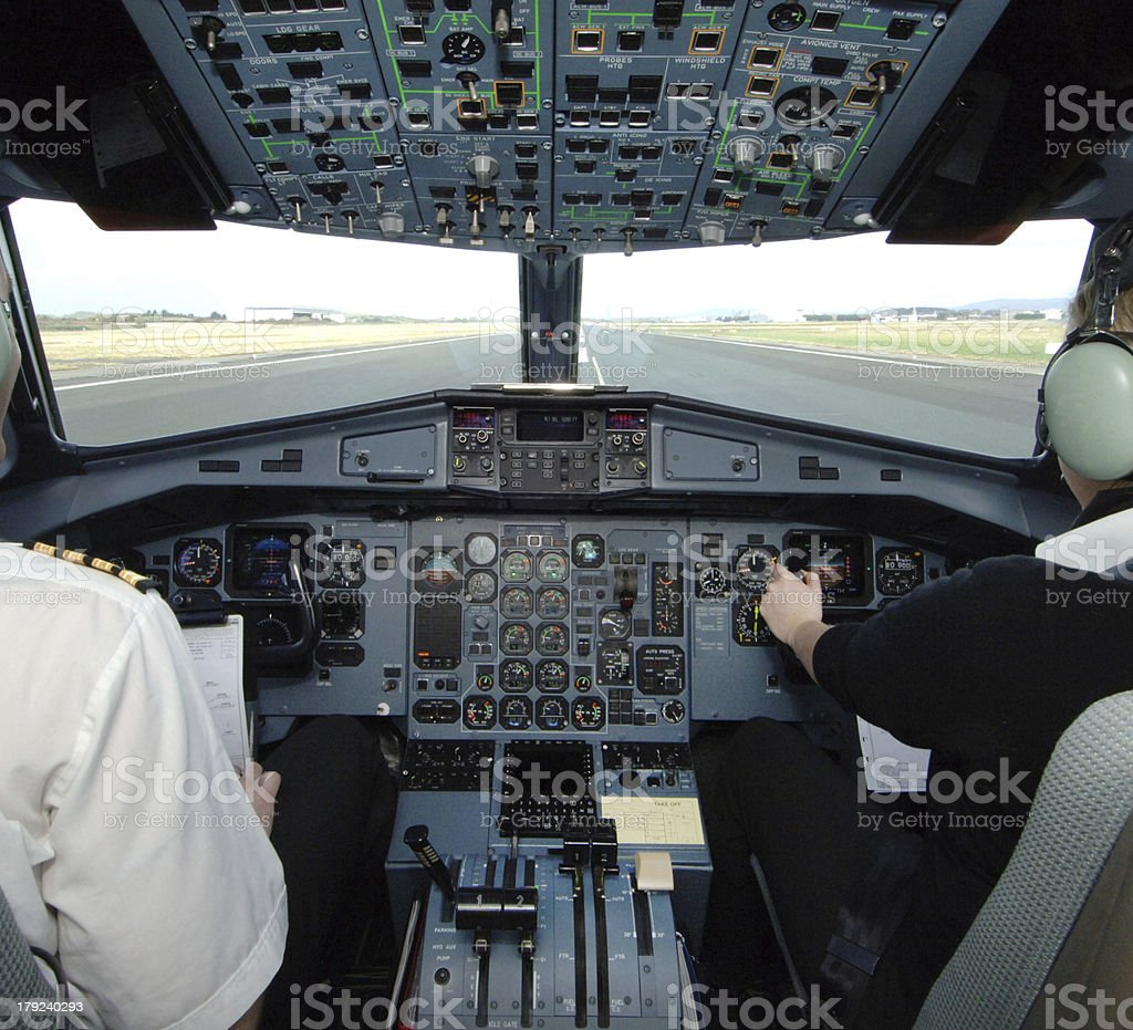 ATR 72-500 Aircraft Cockpit in Take off position . royalty-free stock photo