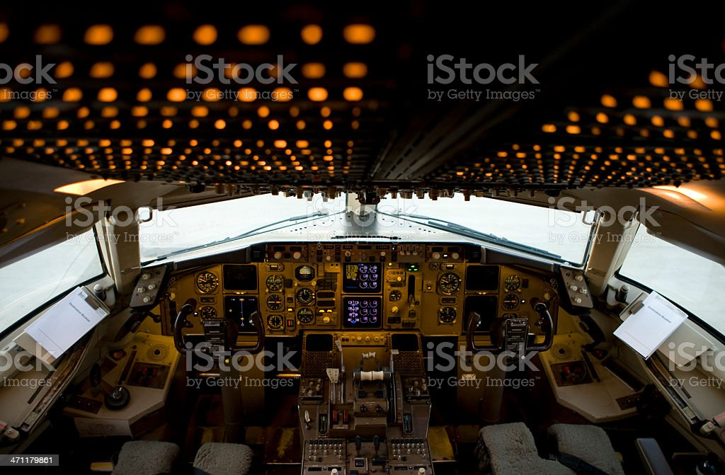 Aircraft Cockpit with lights stock photo