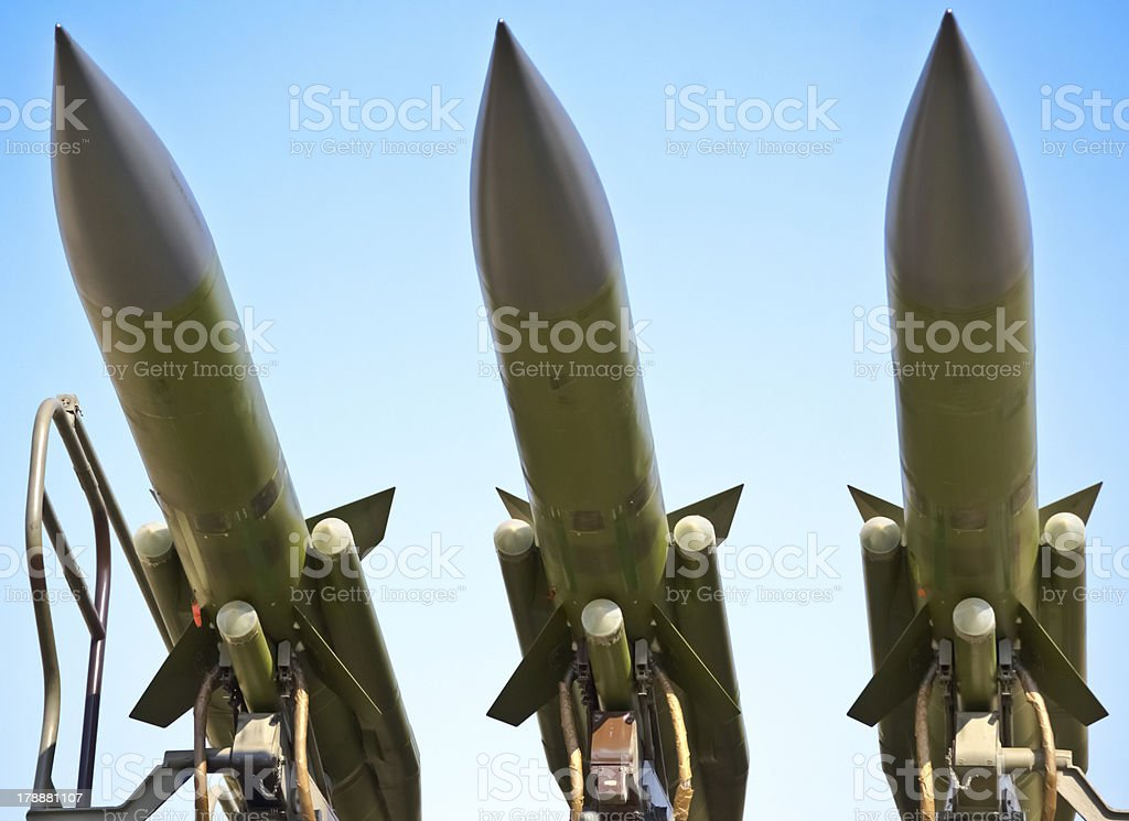 aircraft combat missiles aimed at the sky royalty-free stock photo