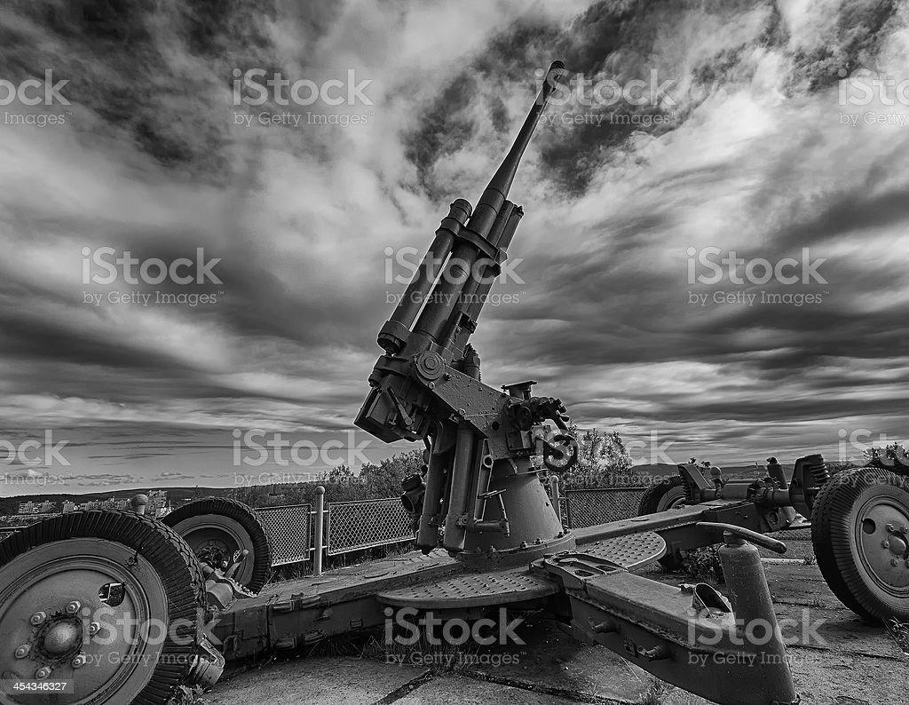 Aircraft defense cannon at  alyosha memorial in murmansk royalty-free stock photo