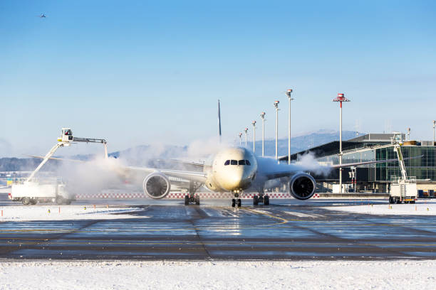 Aircraft deicing stock photo