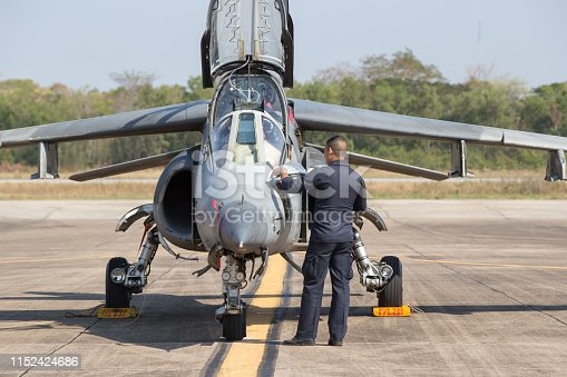 Aircraft Director  Alpha Jet Who are checking the readiness to fly. The Alpha Jet is a highly efficient aircraft for warfare.