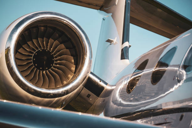 Aircraft engine detail stock photo