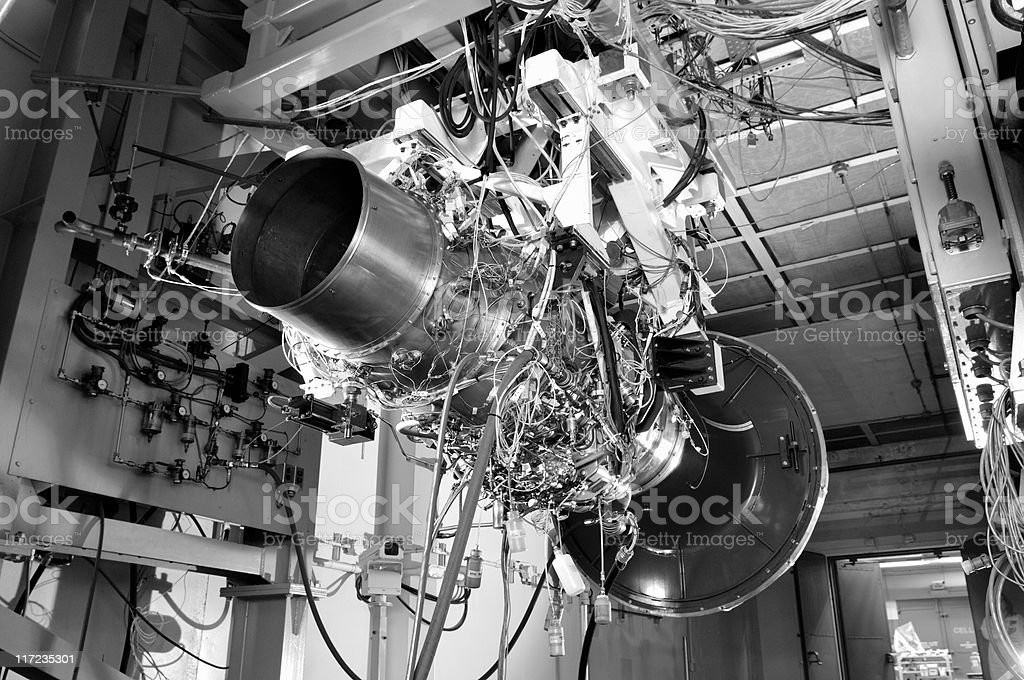 Aircraft engine in test cell royalty-free stock photo