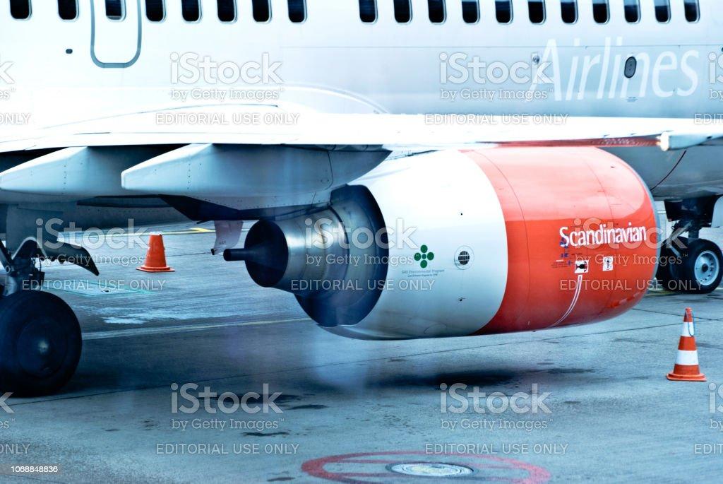 ストックホルム アーランダ空港 スウェーデンで駐機場に Sas 航空会社 ...