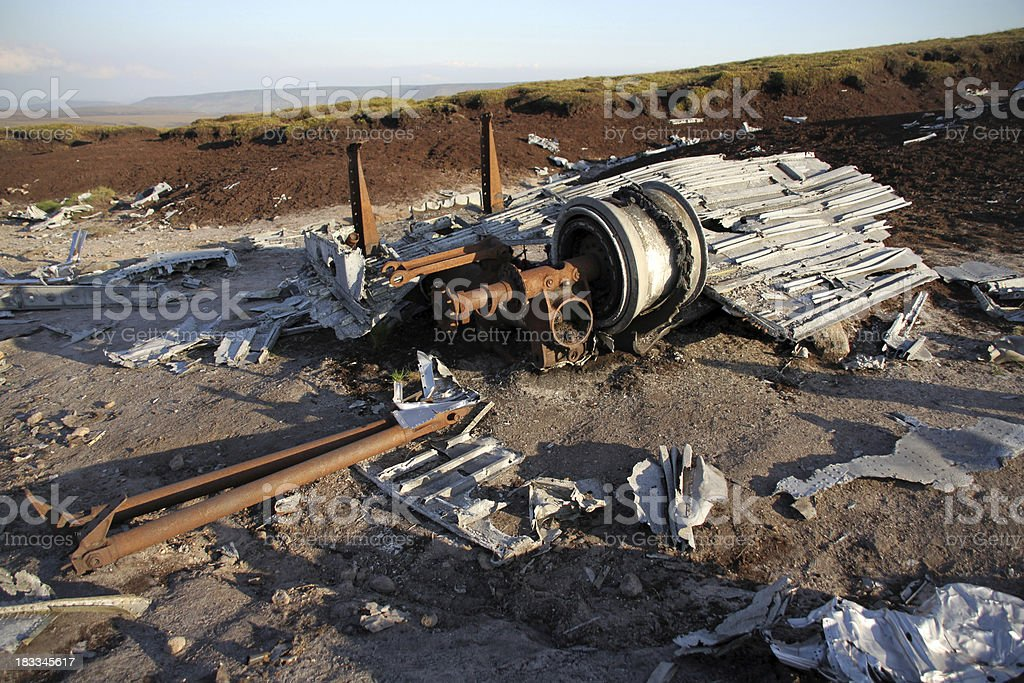 Aircraft engine wreckage stock photo