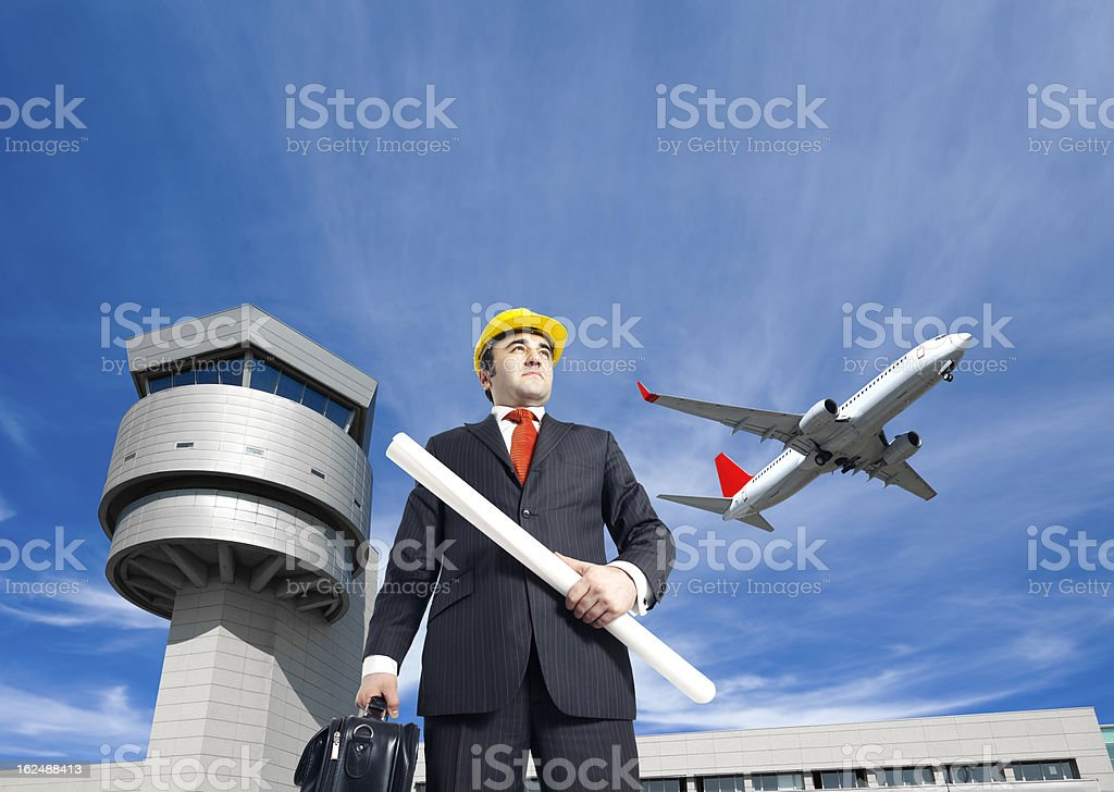 Aircraft engineer at the airport stock photo