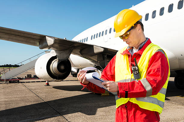 Aircraft engineer stock photo