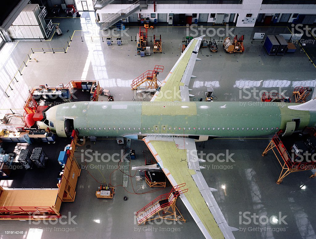 Aircraft factory assembly line stock photo