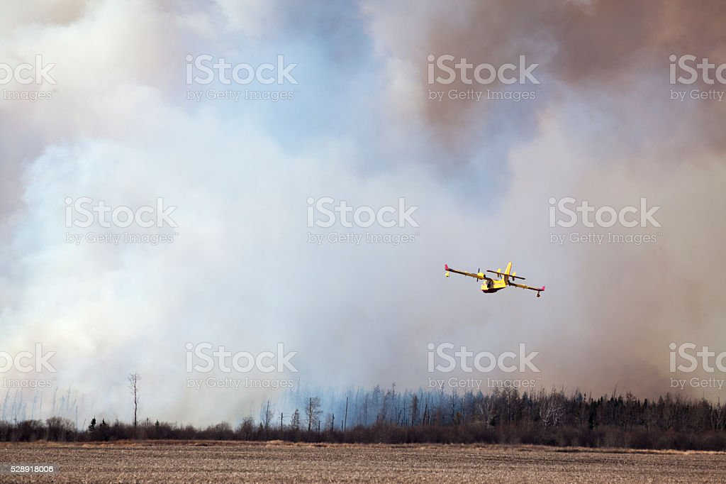 Aircraft Fire Fighting On The Prairies stock photo