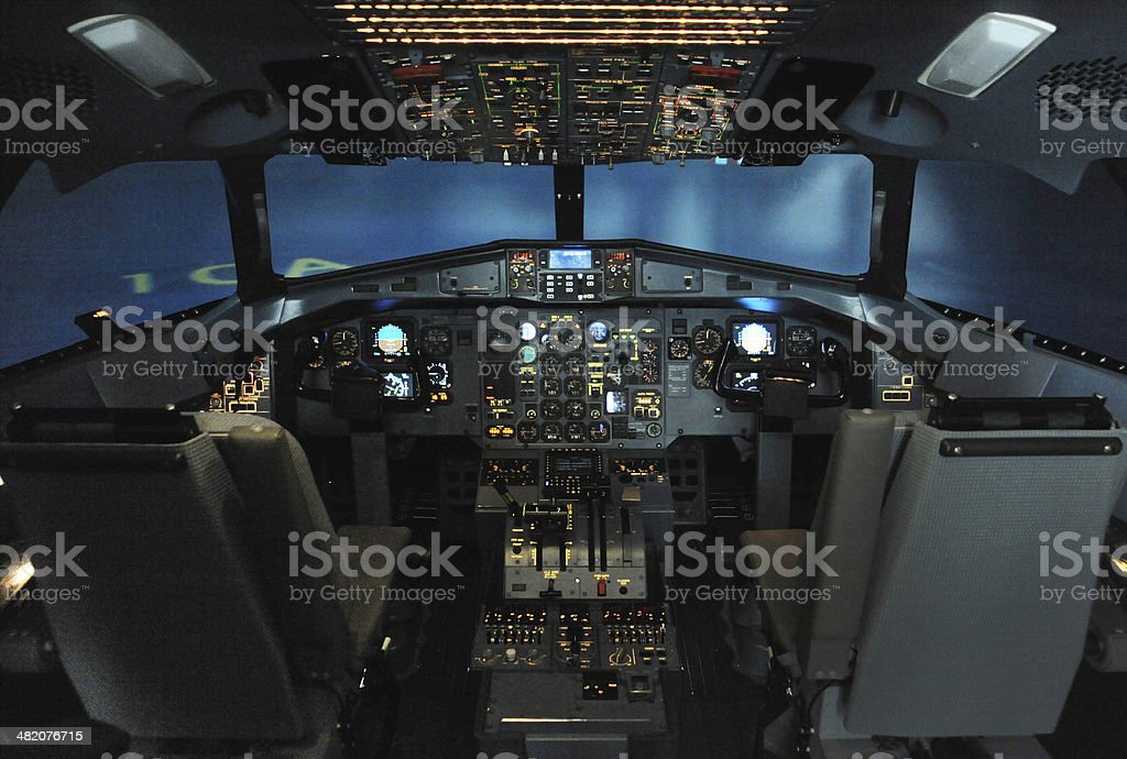 Aircraft Flight Simulator Cockpit stock photo
