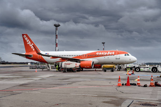 Aircraft from British operated airline Easyjet at the Schonefeld airport in Berlin. Germany stock photo