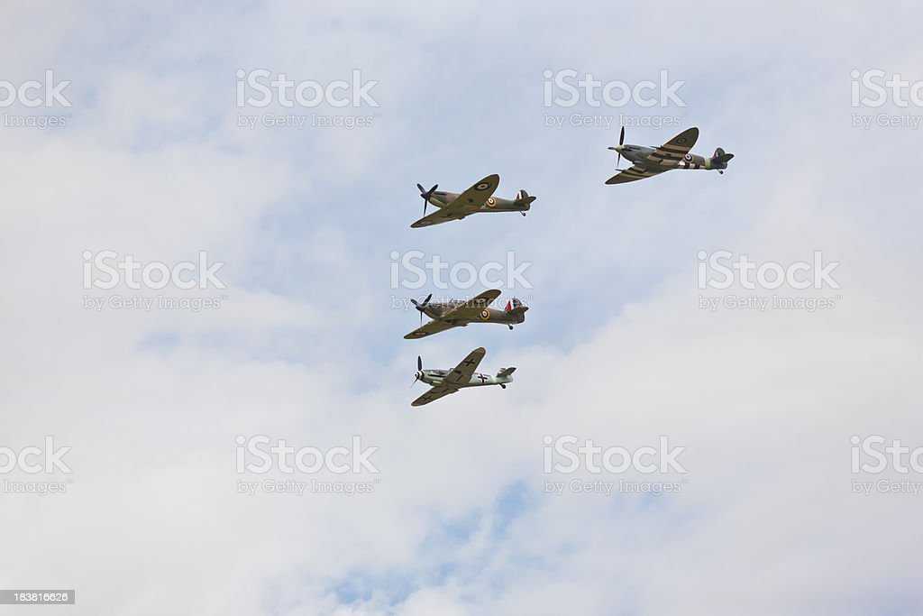 Aircraft from WWII fighters formation British German Spitfire Hurricane stock photo