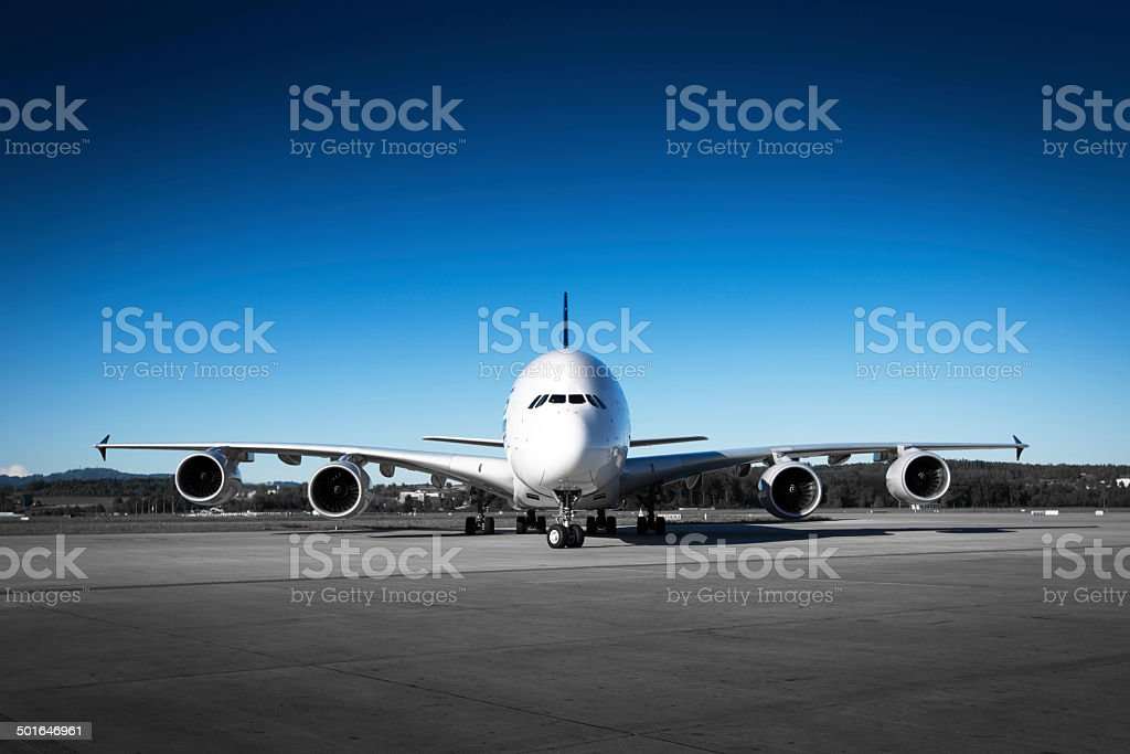 Aircraft front view stock photo