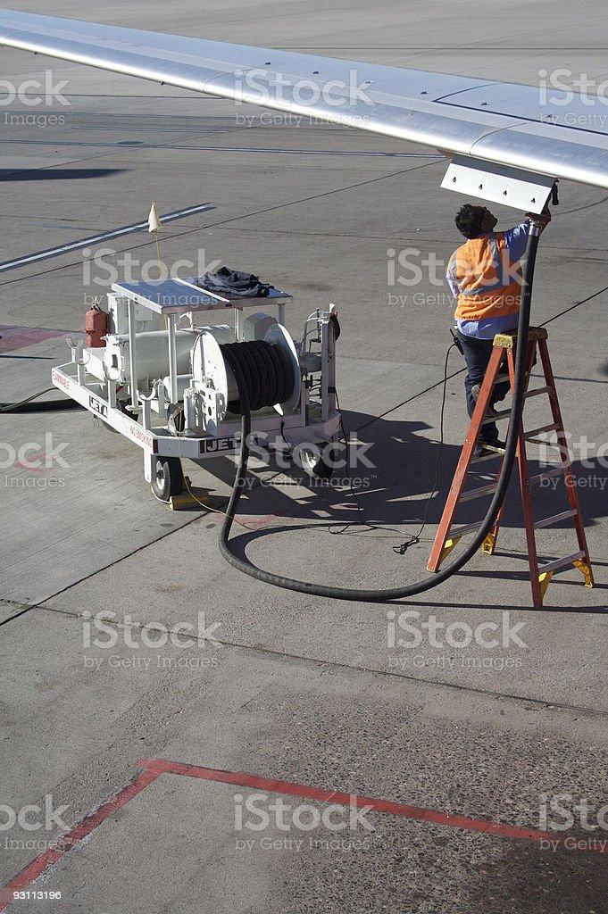aircraft fueling vert. stock photo