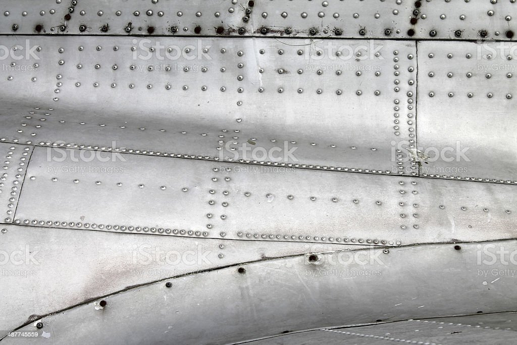 Aircraft fuselage and wing stock photo