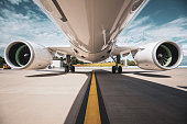 Commercial airliner low angle shot