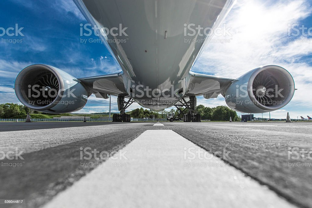 Aircraft fuselage stock photo