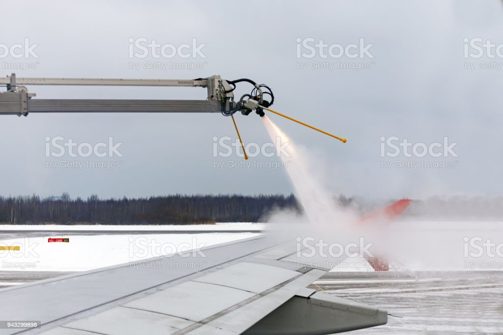 Aircraft handling from icing stock photo