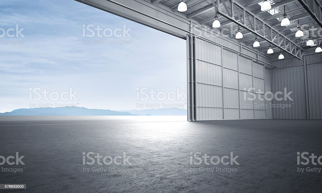 Aircraft hanger door open car stage 3D illustration stock photo