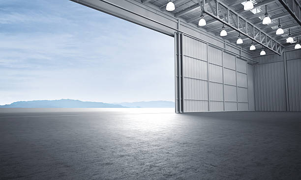 Aircraft hanger door open car stage 3D illustration Aircraft hanger door open car stage 3D illustration airplane hangar stock pictures, royalty-free photos & images