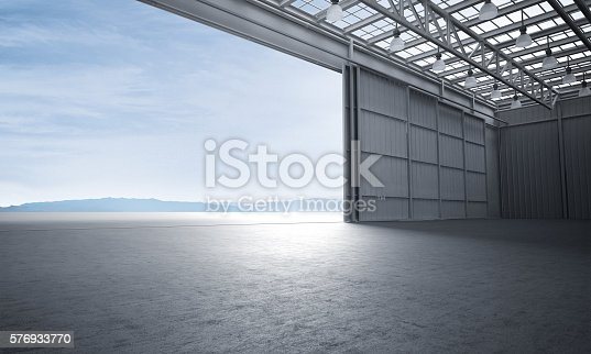 istock Aircraft hanger door open car stage 3D illustration 576933770