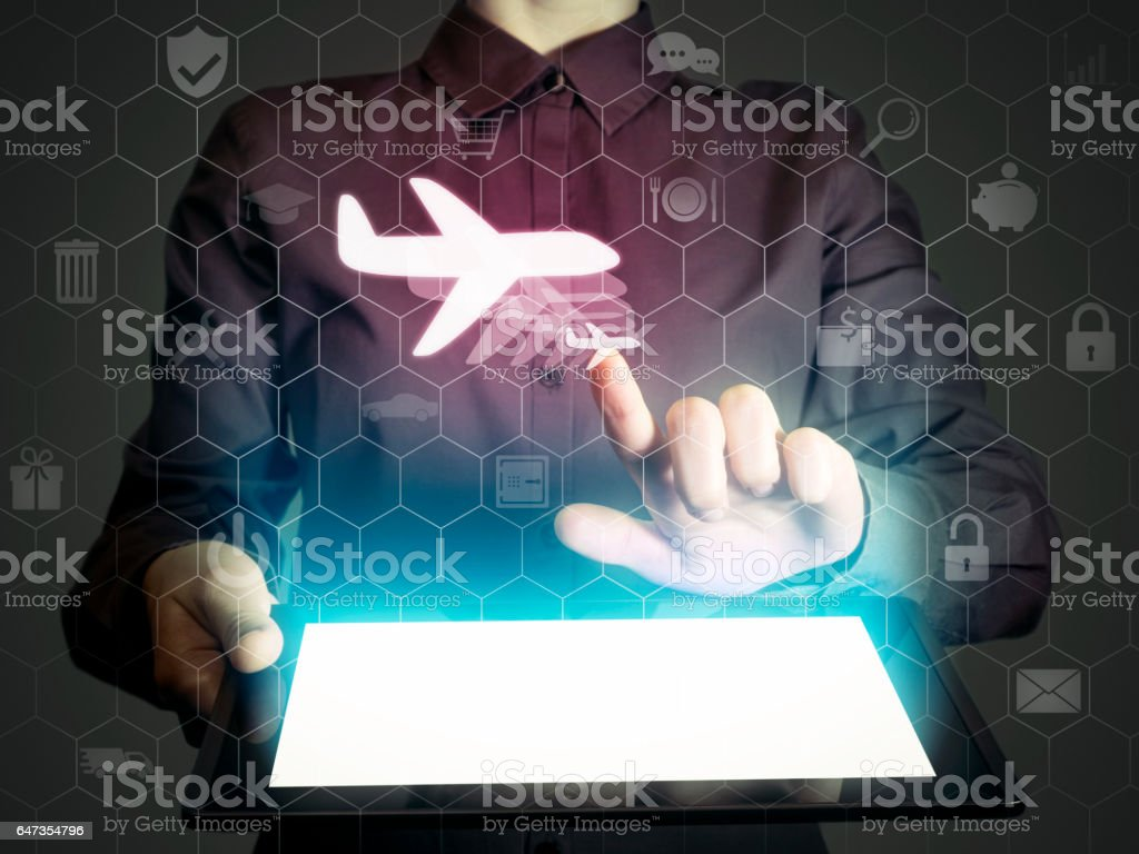 aircraft icon, travel concept stock photo