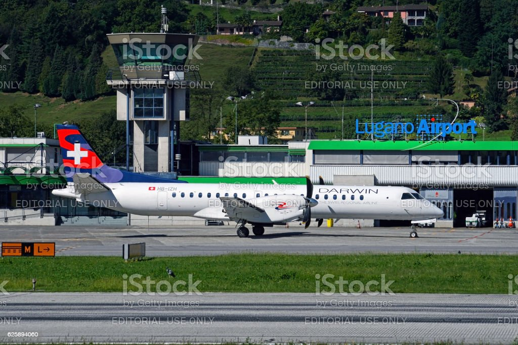 Aircraft in Lugano Airport stock photo