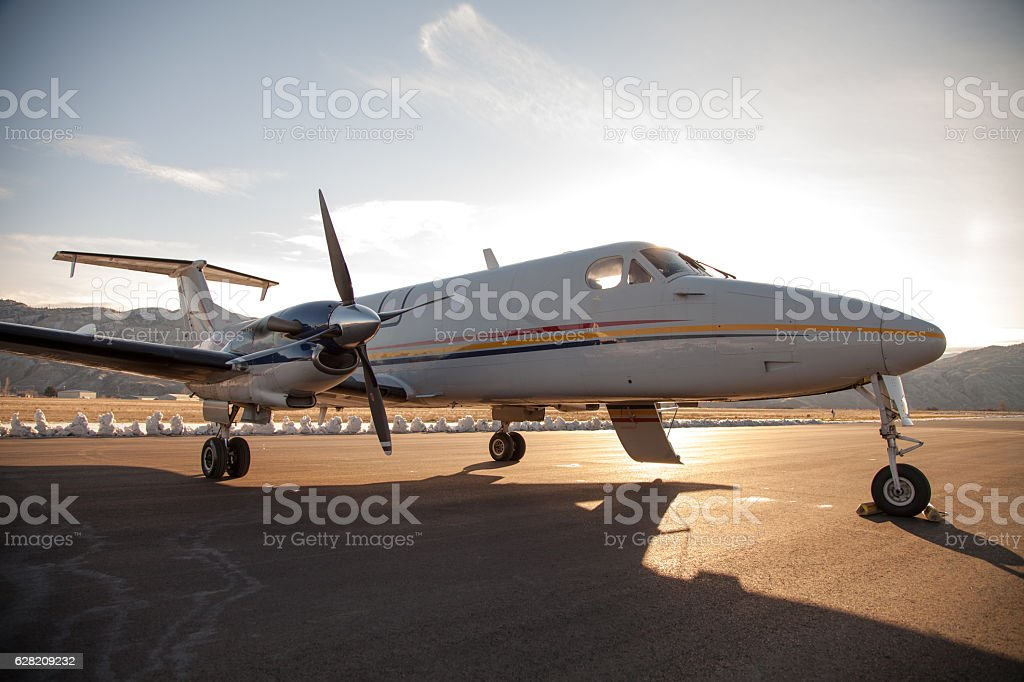 Aircraft in Northern Winter stock photo