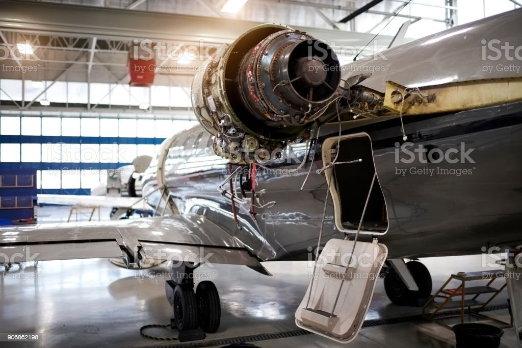 Aircraft in the hangar stock photo