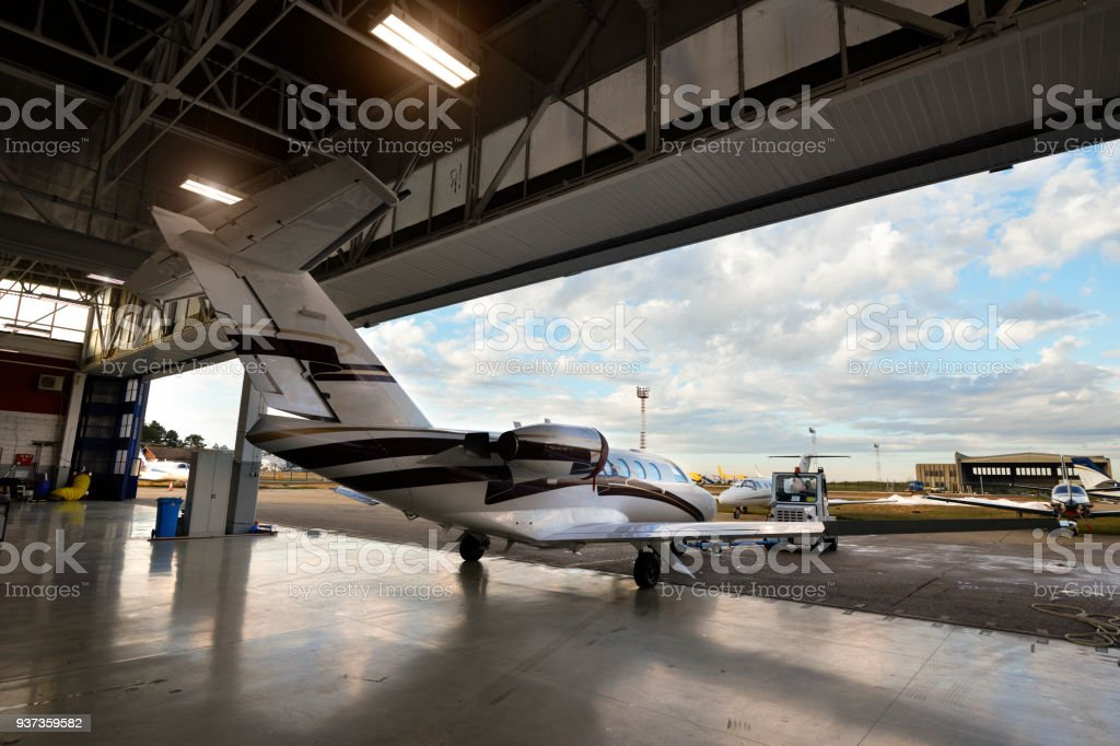 Aircraft in the hangar stock photo