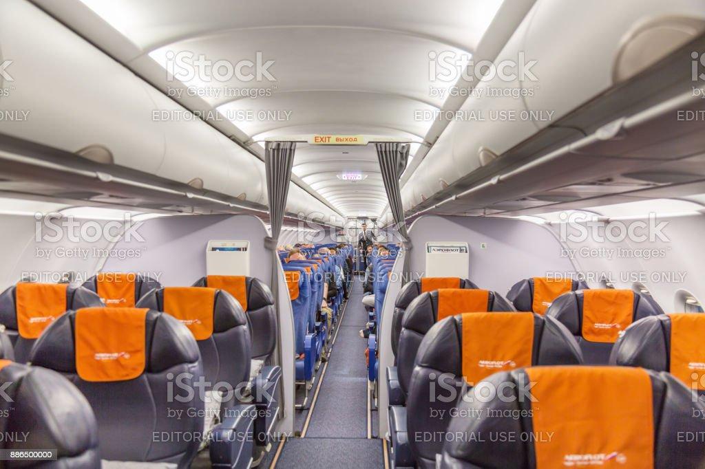 intrieur de lavion aeroflot russian airlines airbus a320 prpare pour vol moscou
