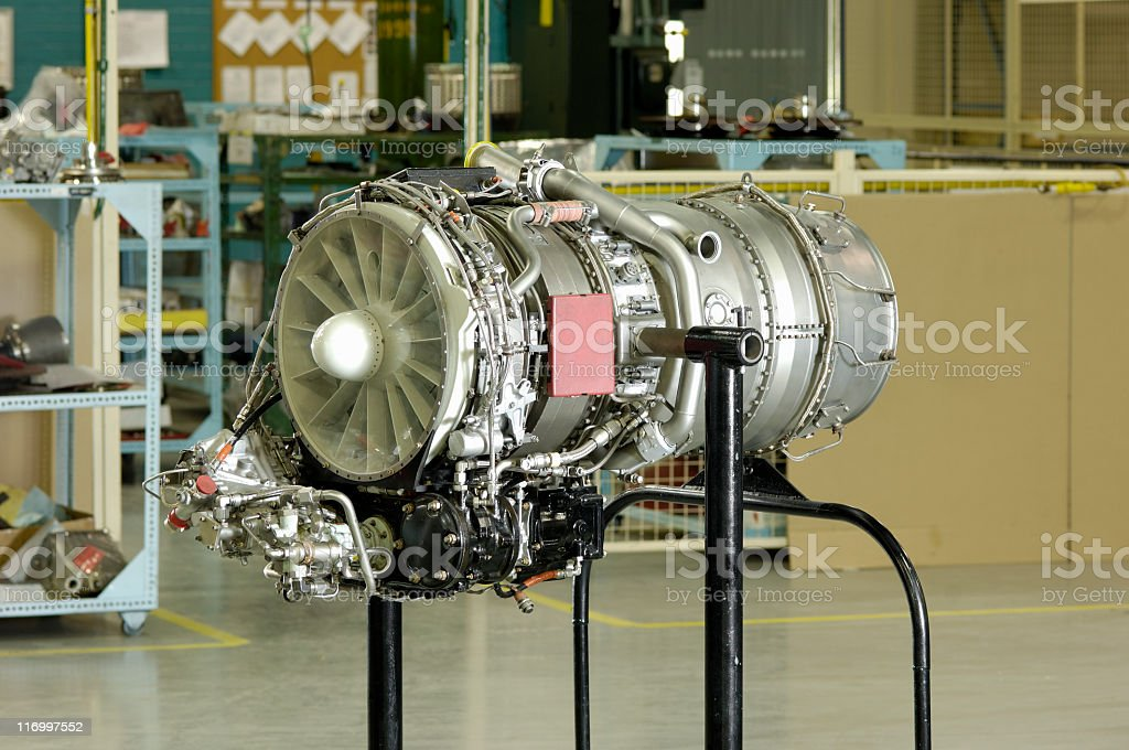 Aircraft jet engine after overhaul stock photo