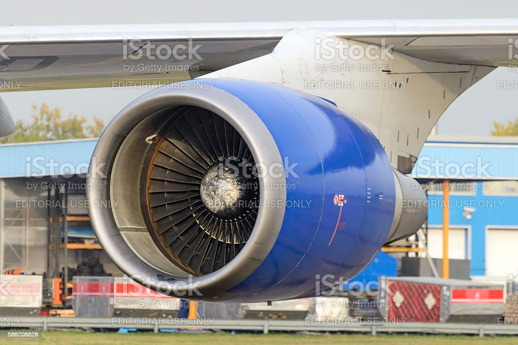 Aircraft jet engine Boeing 747 stock photo