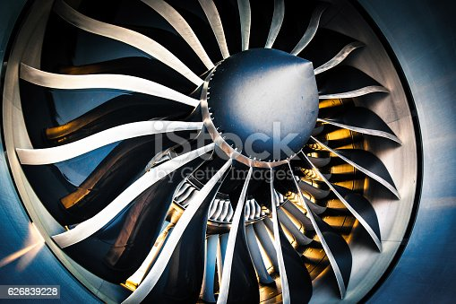 Detail of a modern turbofan aircraft engine