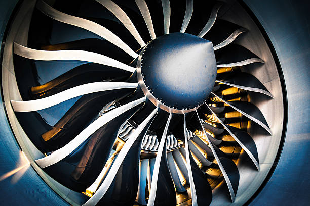 Aircraft Jet Engine Detail of a modern turbofan aircraft engine turbine stock pictures, royalty-free photos & images