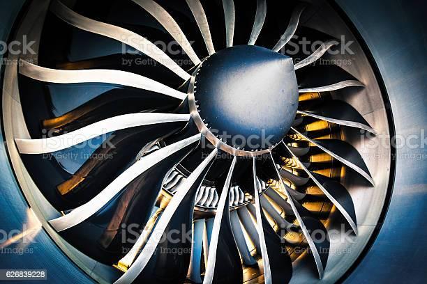 Detail of a modern turbofan aircraft engine
