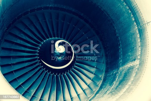 istock Aircraft jet engine turbine 157743662