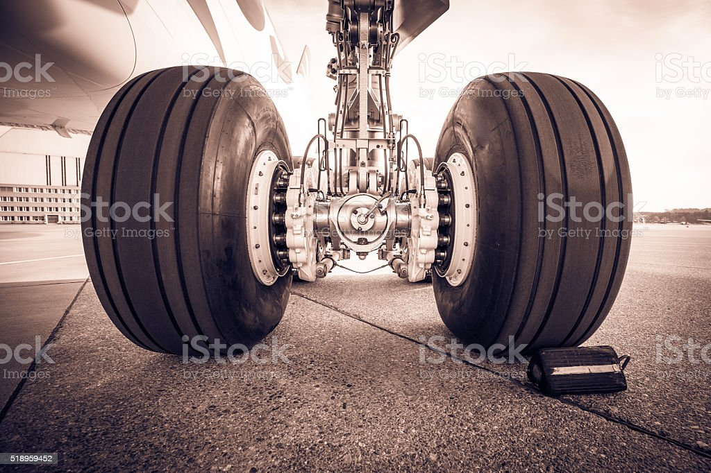 Aircraft landing gear stock photo