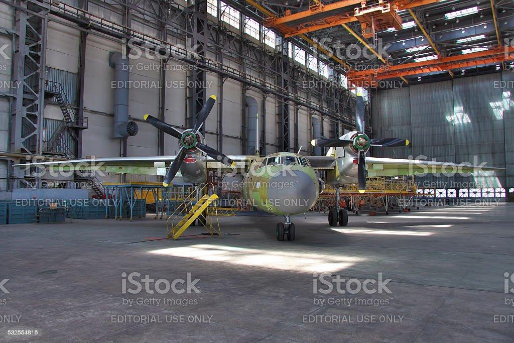 Aircraft manufacturing hangar stock photo