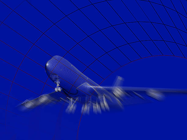 Aircraft Model In Wind Tunnel stock photo