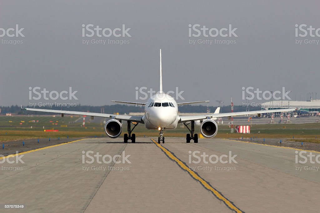 Aircraft on taxiway stock photo