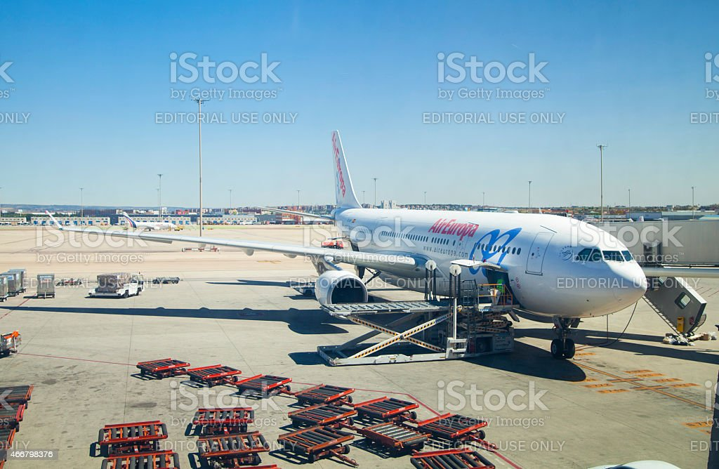 Aircraft on the field getting ready to depart stock photo