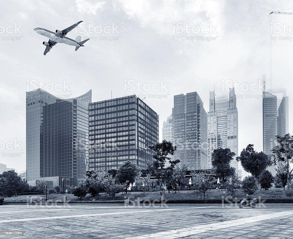 Aircraft on the Shanghai sky royalty-free stock photo